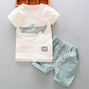 Newborn Boys white cartoon Shirt+Shorts Suit