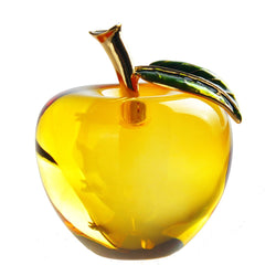Yellow Glass Crystal Apple Paperweight Crafts