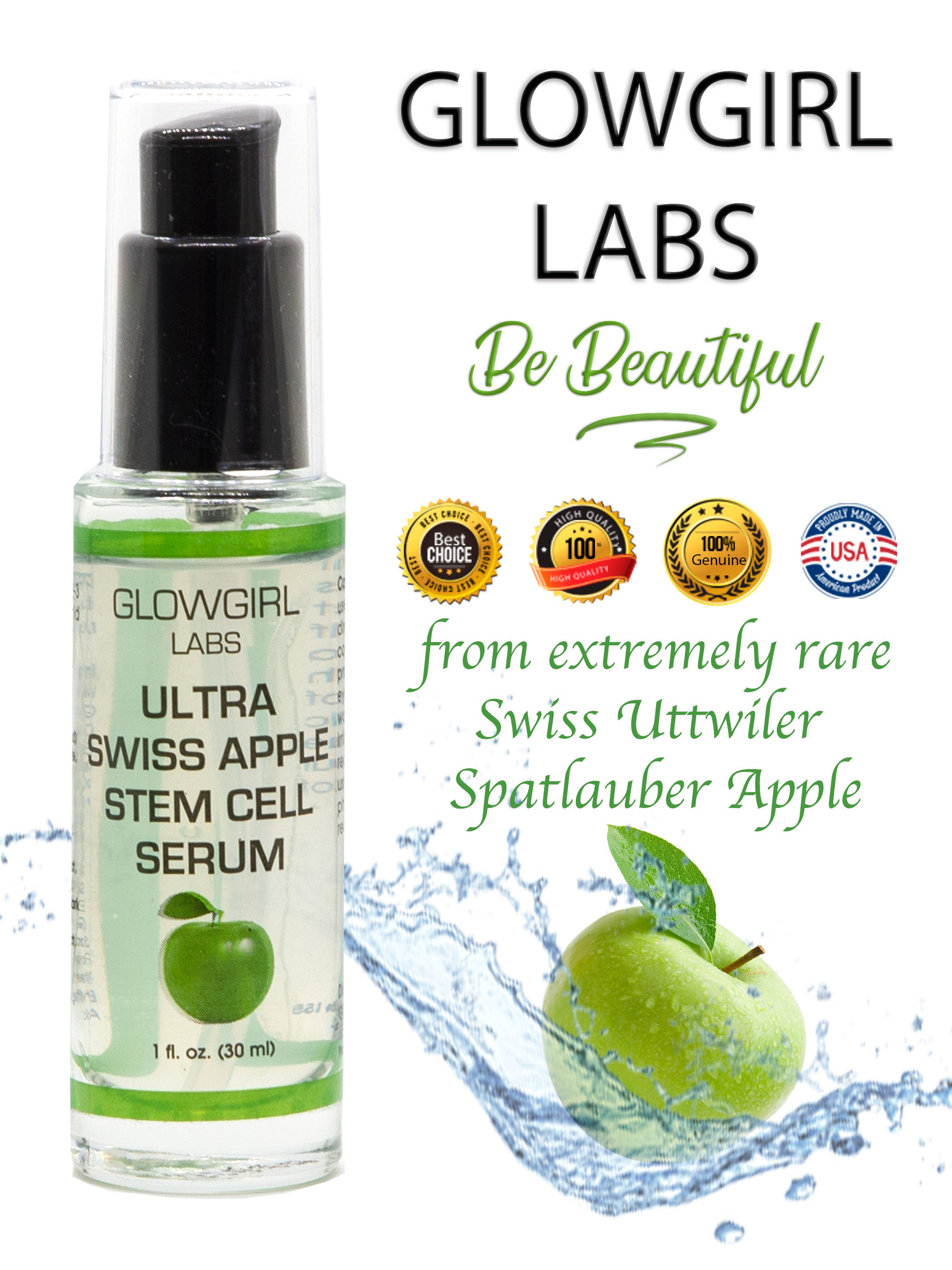 SWISS APPLE STEM CELL SERUM - 1 FL OZ, ANTI-AGING BREAKTHROUGH - BRONZAN TAN
