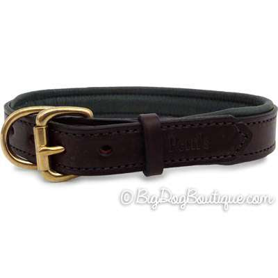 Padded Leather Dog Collar- brown with hunter padding