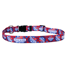 Made in USA (red,white,blue) Adjustable Dog Collar
