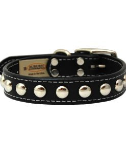 Silver Blunt Studded Leather Dog Collar