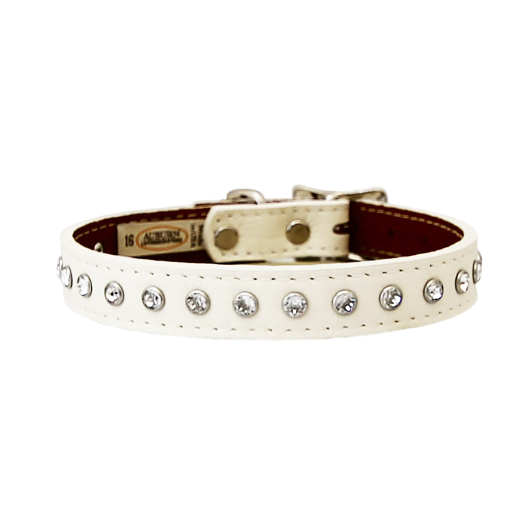 Tuscan Soft Italian Leather Crystal Dog Collar