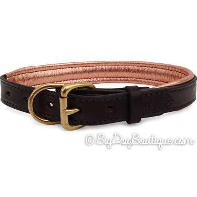 Padded Leather Dog Collar- brown with metallic copper padding