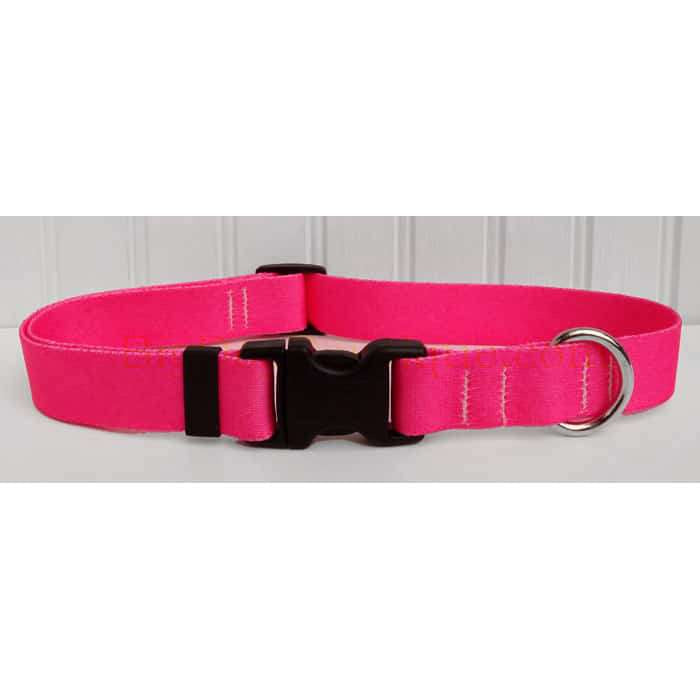 Solid Hot Pink Adjustable Dog Collar