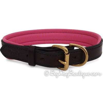 Padded Leather Dog Collar- brown with pink padding