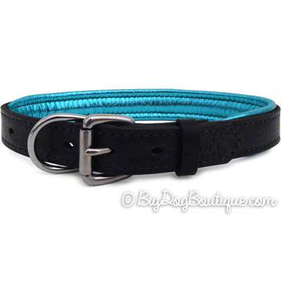 Padded Leather Dog Collar- black with metallic turquoise padding