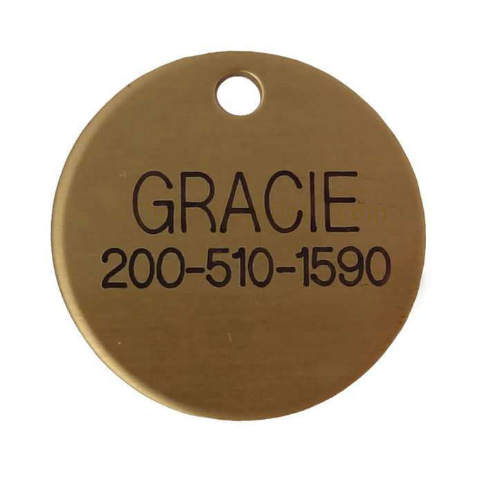 Laser Engraved Solid Brass Dog Tag- disk shaped