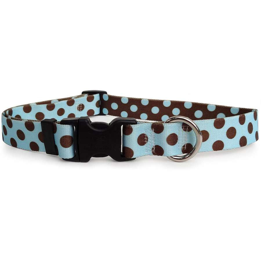 Blue with Brown Polka Dots Dog Collar