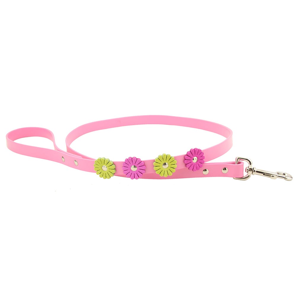 Leather Flower Luxury Dog Leash