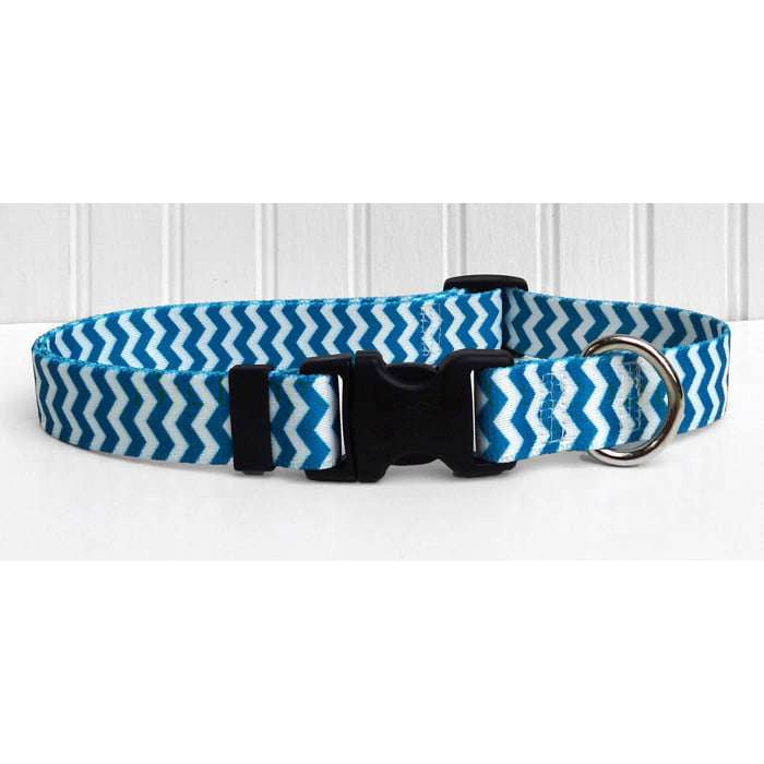 Blueberry Blue and White Chevron Dog Collar