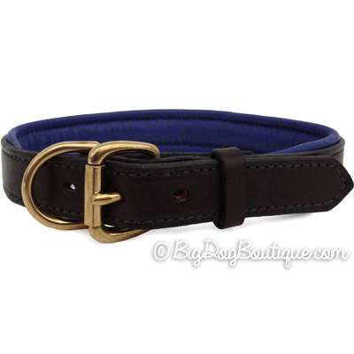 Padded Leather Dog Collar- brown with blue padding