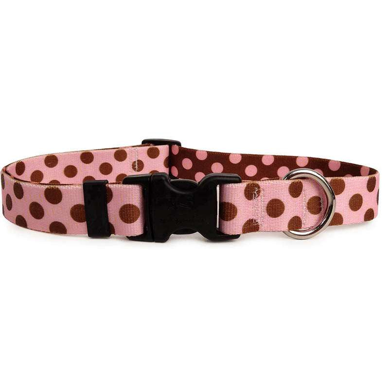 Pink with Brown Polka Dots Dog Collar