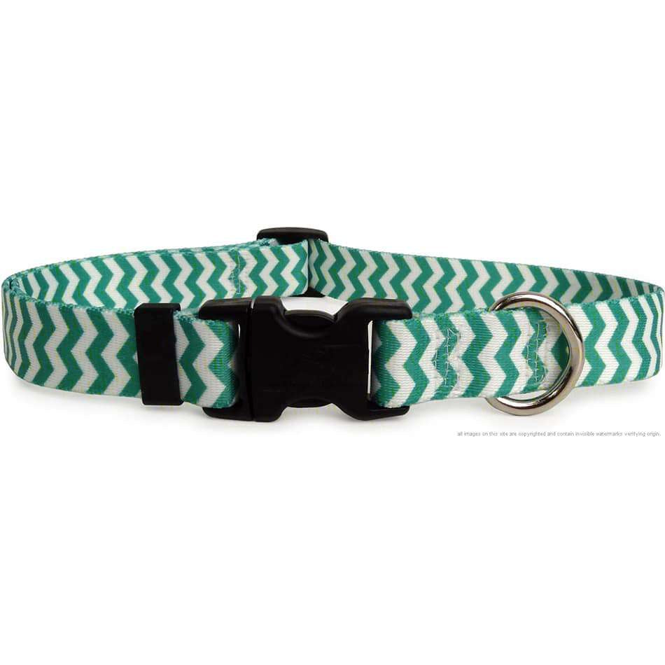 Lime Green and White Chevron Dog Collar