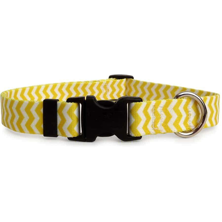 Lemon Yellow and White Chevron Dog Collar