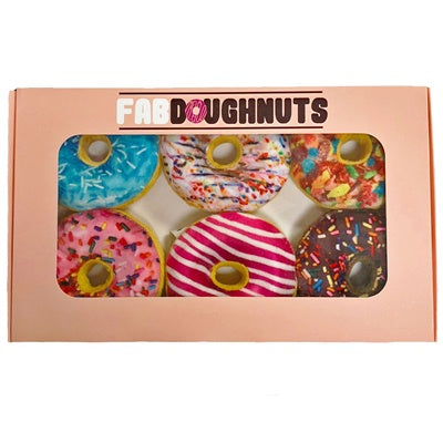 Box of Squeaky Donuts Dog Toys- stuffing free