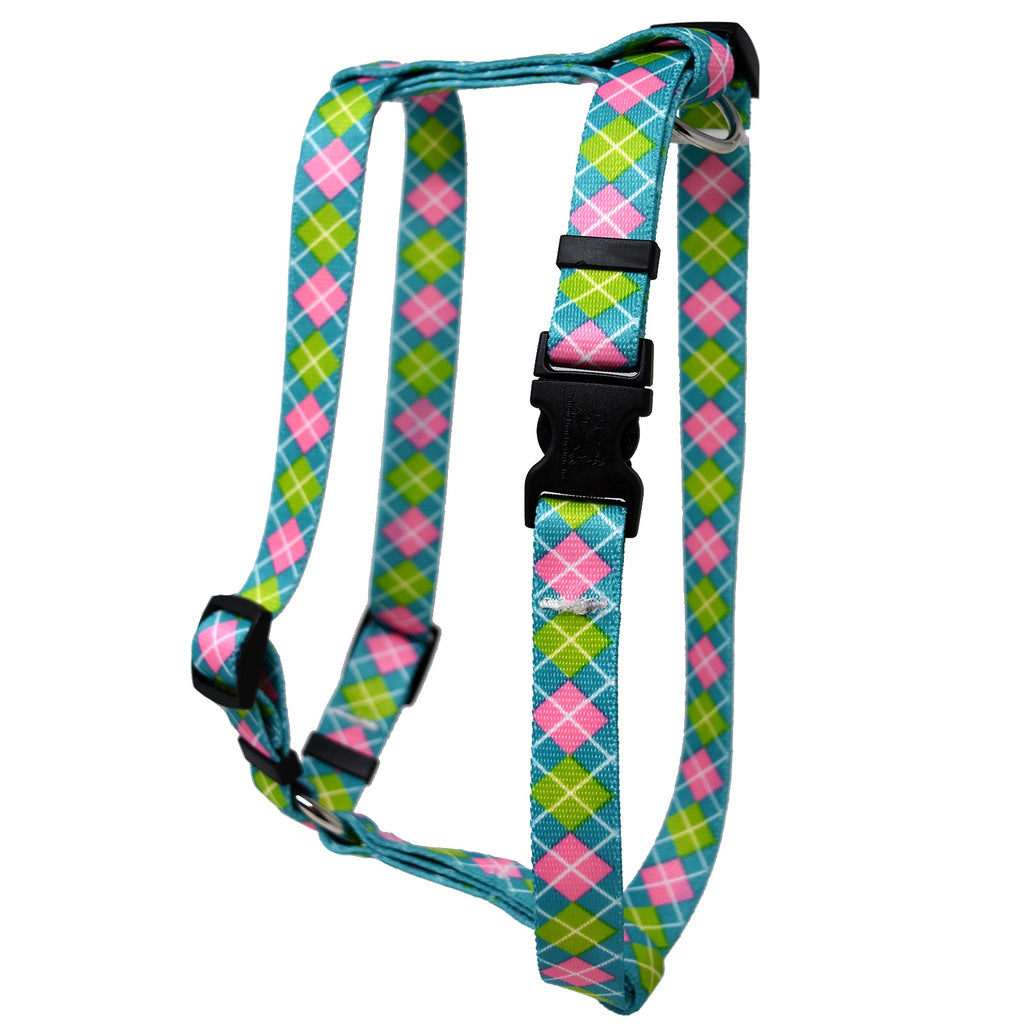 Teal & Pink Argyle Roman Dog Harness