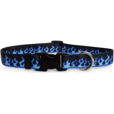Blue Flames Dog Collar (adjustable or martingale)