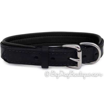 Padded Leather Dog collar- black with black padding
