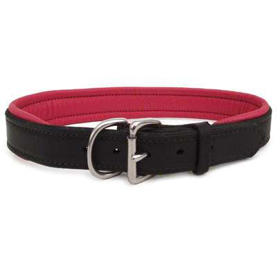 Padded Leather Dog Collar- black with pink padding