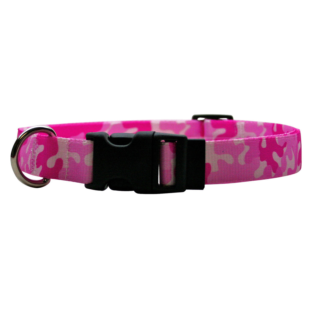 Pink Camo Print Dog Collar- adjustable or martingale