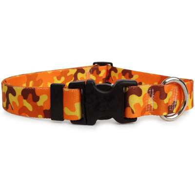 Orange Camouflage Print Dog Collar