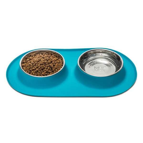 Silicone Dog Bowl Feeder Set-  stainless bowls
