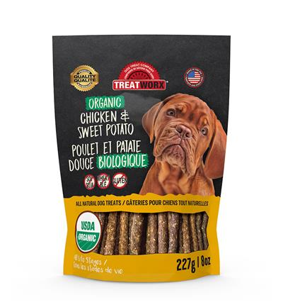 Organic Chicken & Sweet Potato Treat Sticks for dogs
