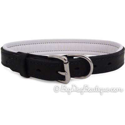 Padded Leather Dog Collar- black with white padding