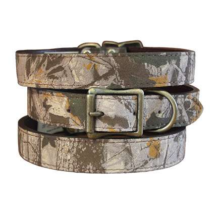 Leather Camouflage Dog Collar- Green or Pink