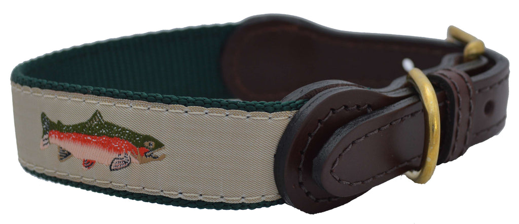 American Traditions Leather and Ribbon Dog Collar- Fly Fishing