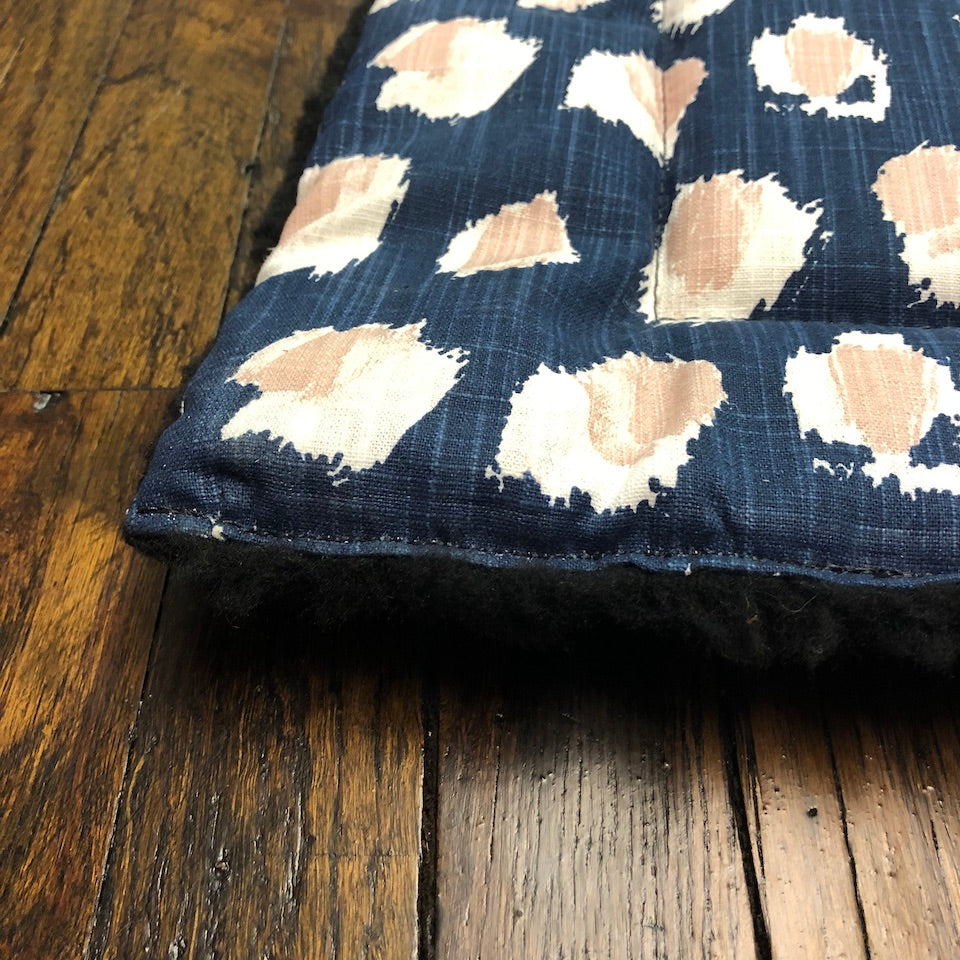 Crate Travel Mat for dogs- navy blue denim and blush