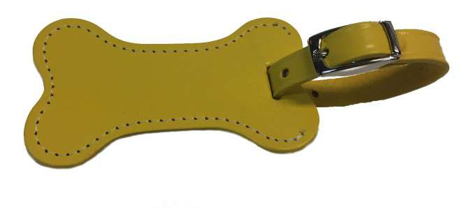 Leather Dog Bone Luggage Tag