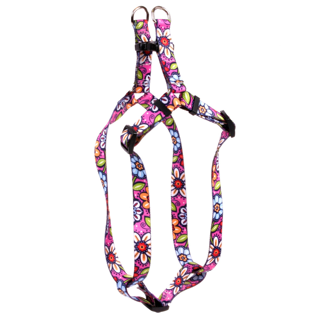 Pink Garden Flowers Step-In Dog Harness