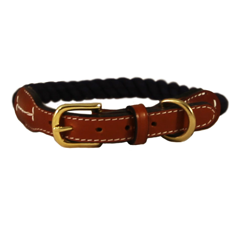 Natural Cotton Rope and Leather Dog Collar