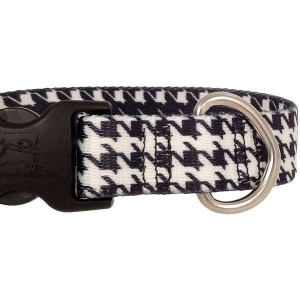 Houndstooth Black and White Dog Collar- adjustable or martingale