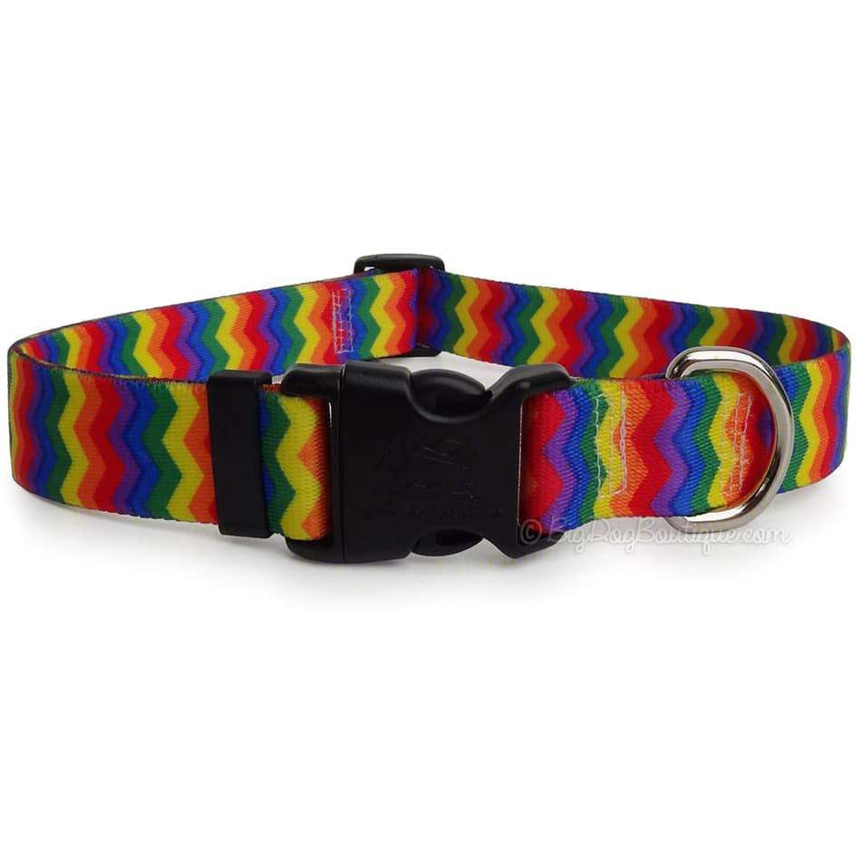 Rainbow Pride Chevron Dog Collar- adjustable or martingale