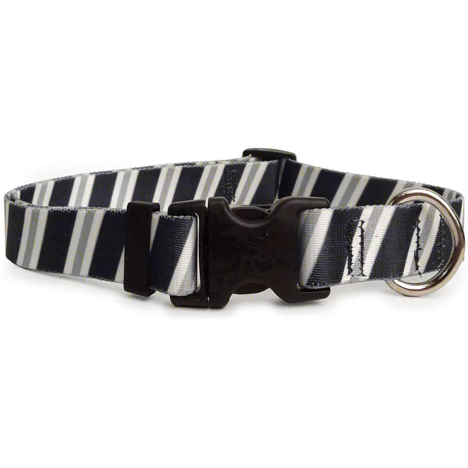 Black Grey White Striped Dog Collar (adjustable or martingale)