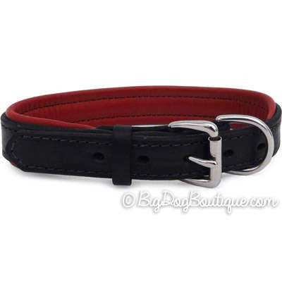 Padded Leather Dog Collar- black with red padding