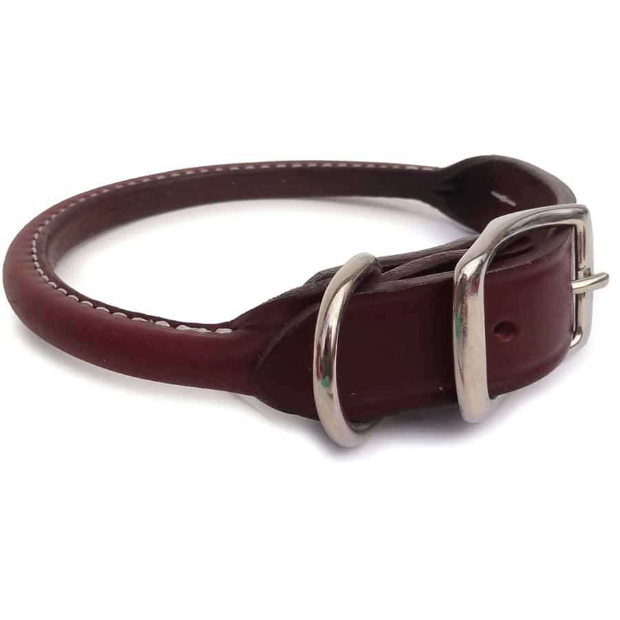 Brown Rolled Leather Dog Collar- USA made