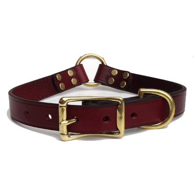 Leather Latigo Center Ring Dog Hunting Collar