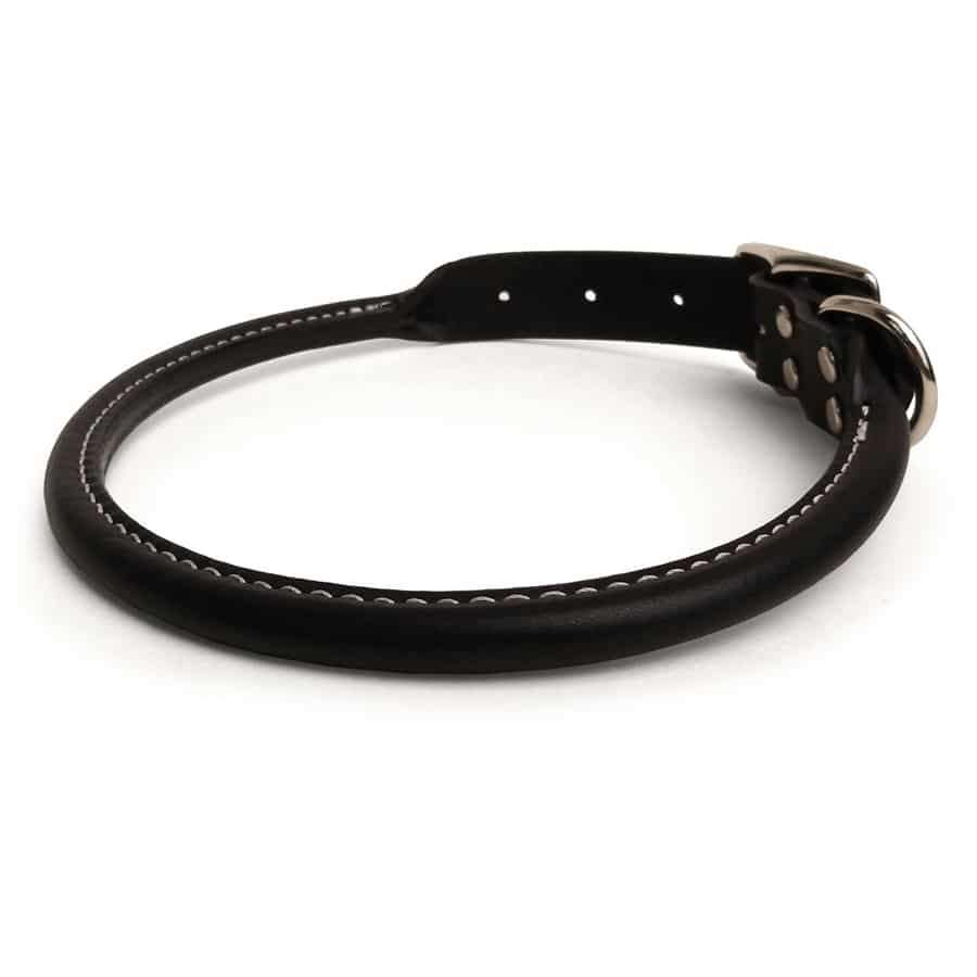 Black Rolled Leather Dog Collar
