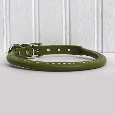 Moss Green Rolled Leather Dog Collar- USA made