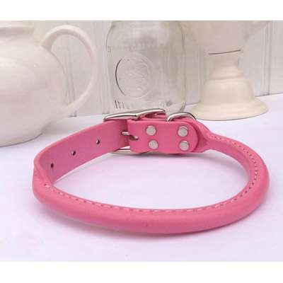 Light Pink Rolled Leather Dog Collar- USA made