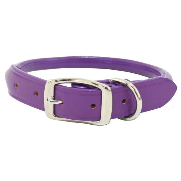 Purple Rolled Leather Dog Collar- USA made