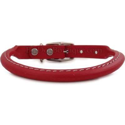 Red Rolled Leather Dog Collar- American Made