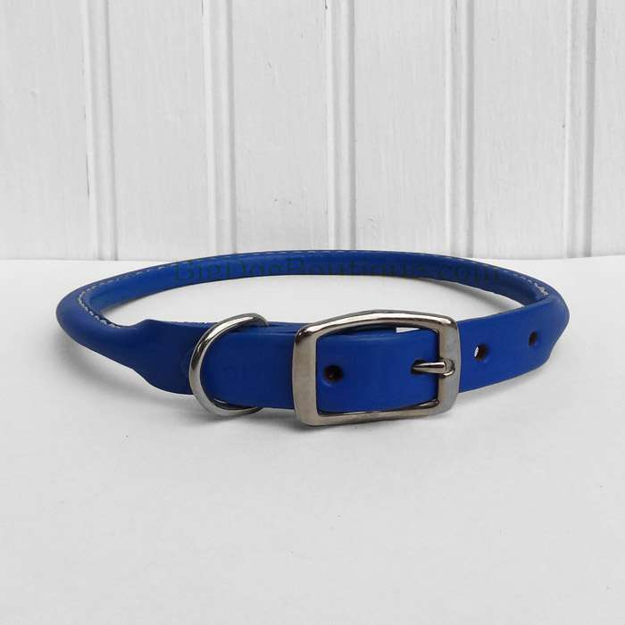 Royal Blue Rolled Leather Dog Collar- American made