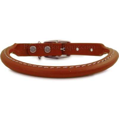 Tan Rolled Leather Dog Collar- USA made