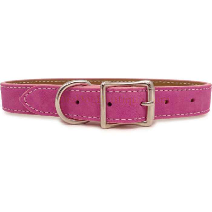 Saratoga Suede Pink Leather Collar