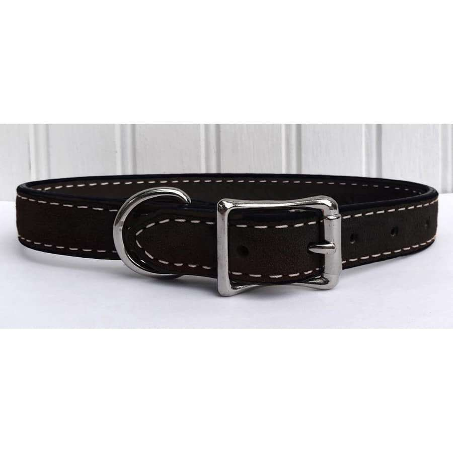 Saratoga Suede Black Leather Collar